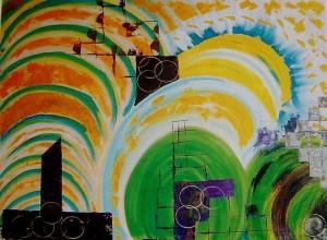 Architettura galattica, olio su tela 110x88 (cornice130x109) (pubblicato riv.). E. 6.500,00 _ _OK